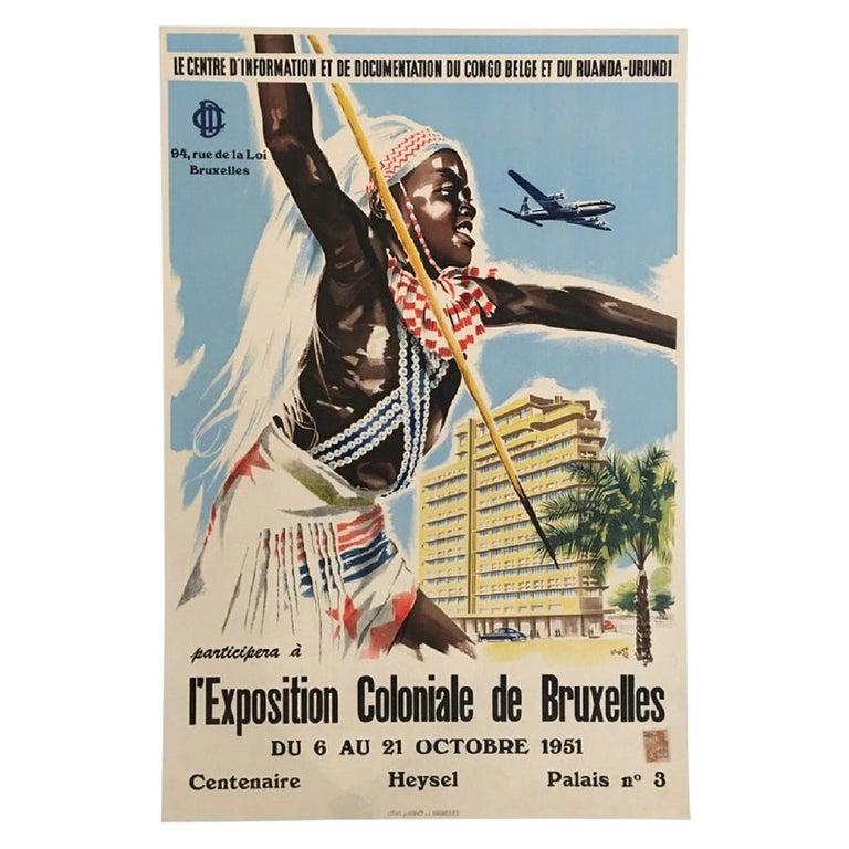 L'Exposition Coloniale de Bruxelles Original Vintage Poster For Sale