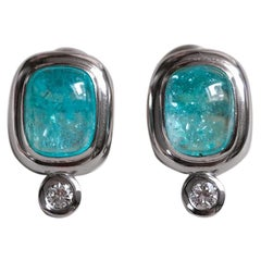 Leyser 950/ Platinum Diamond Paraiba Tourmaline Earrings