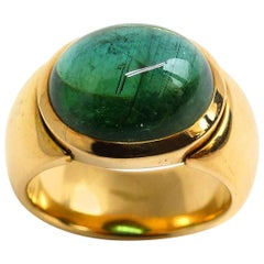 "Leyser ""Calypso"" 18 Karat Rose Gold Green Tourmaline Ring"