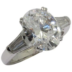 LFG Certified 3.08 Carat D Color Oval Diamond Solitaire Ring
