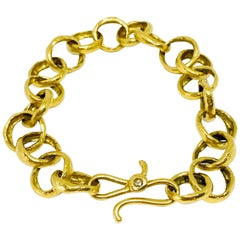 LFrank 18k Hammered Yellow Gold and Diamond Link Bracelet