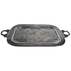 Lg. Aesthetic Movement Silver Plated Serving Tray with Engraved Flowers & Birds