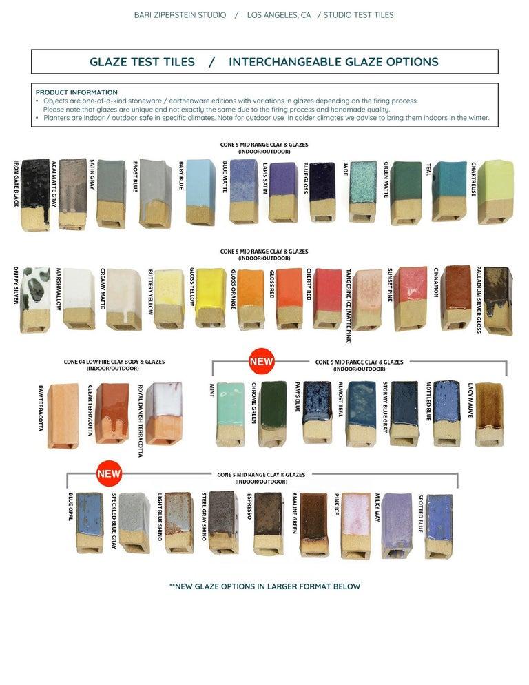 LG Contemporary Ceramic Mottled Blue Planter For Sale 2
