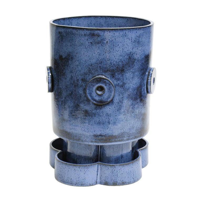 LG Contemporary Ceramic Mottled Blue Planter For Sale