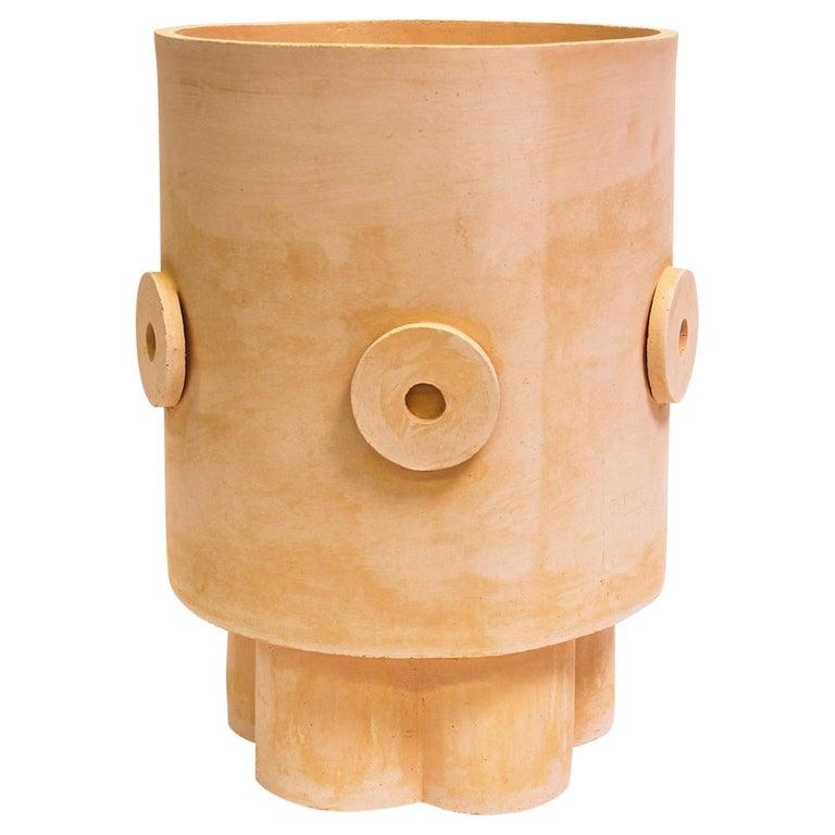 LG Contemporary Ceramic Raw Terracotta Planter For Sale