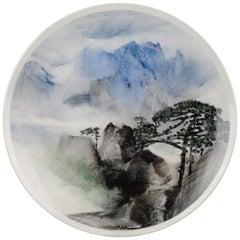 "Li Linhong '1942' ""Mount Huangshan"" Artist Marked Plate Chinese Porcelain"