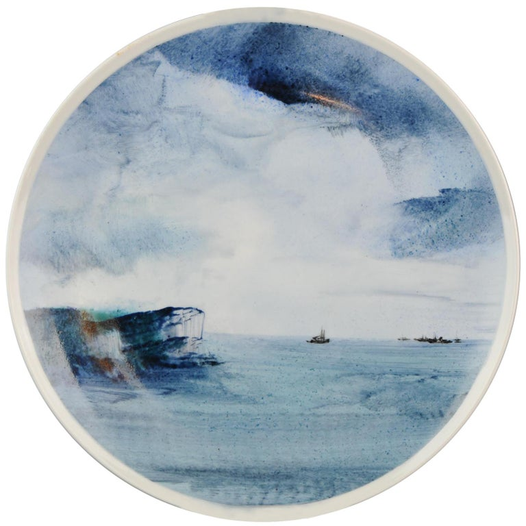 """Li Linhong """"Sea Breeze"""" Artist Marked Plate Dated 1987 Chinese Porcelain For Sale"""