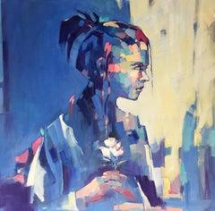 Blue Déjà Vu II - Abstract, Portrait Painting, Oil on Canvas, 21st Century, Girl