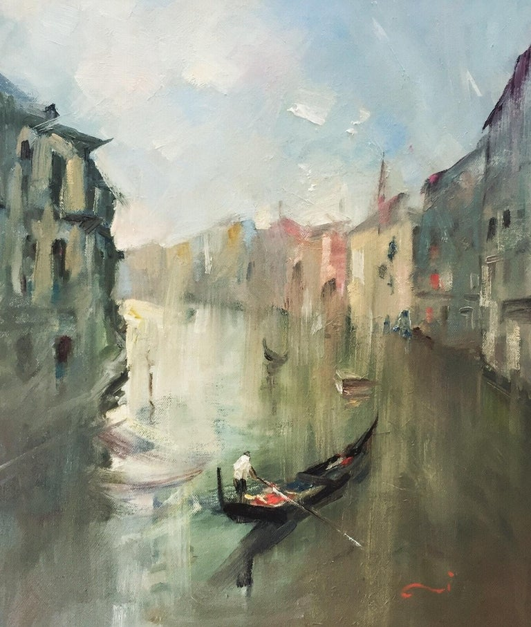 """""""Venice…A splendour of miscellaneous spirits."""" John Ruskin  I have created a series of Venice cityscape after a trip from Italy in 2012.  This painting is ready to hang and in a white custom box frame."""
