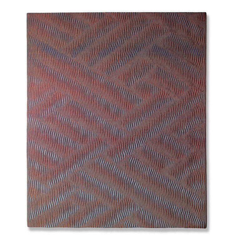 """Woven Form, Lia Cook, rayon, cotton; woven, 45"""" x 53"""" 1980  This abstract mixed media tapestry and wall hanging was done by California-based American fiber Lia Cook (b. 1942). Bridging several generations of technological development, Cook's"""