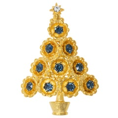 LIA Gold Christmas Tree Brooch, Festive Crystal Decorated Conifer Pin