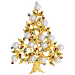 LIA Gold Christmas Tree Brooch, Festive Faux Pearl Crystal Decorated Conifer Pin