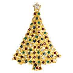 LIA Gold Christmas Tree Pin and Brooch, Colorful Crystal Ornaments