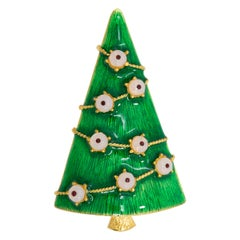 LIA Gold Christmas Tree Pin and Brooch, Green Enamel, White Glass Ornaments