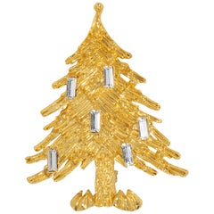 LIA Golden Christmas Tree Pin and Brooch, Clear Baguette Crystal Ornaments