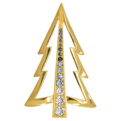 LIA Retro Gold Christmas Tree Pin Brooch with Crystals