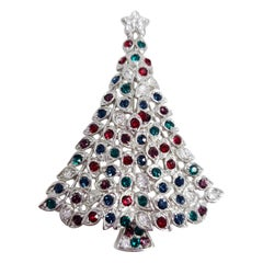 LIA Silver Christmas Tree Pin and Brooch, Colorful Crystal Ornaments