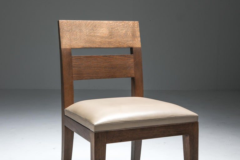 Liaigre Dining Chairs in Stained Oak and Leather For Sale 5