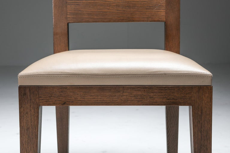 Liaigre Dining Chairs in Stained Oak and Leather For Sale 6