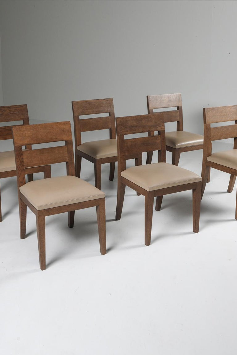 Liaigre Dining Chairs in Stained Oak and Leather For Sale 8