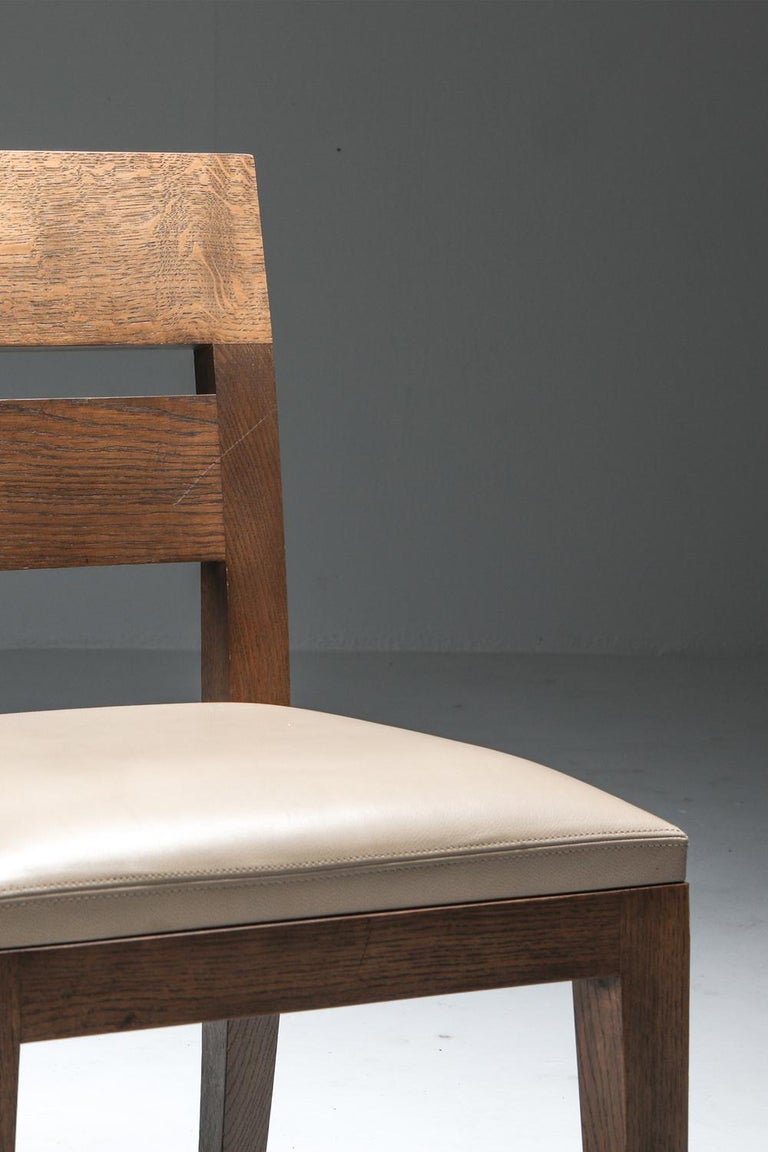 Liaigre Dining Chairs in Stained Oak and Leather For Sale 9