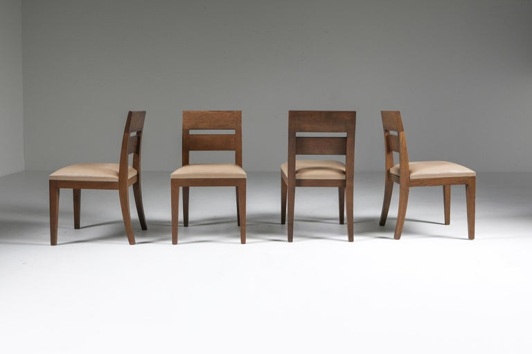 French Liaigre Dining Chairs in Stained Oak and Leather For Sale