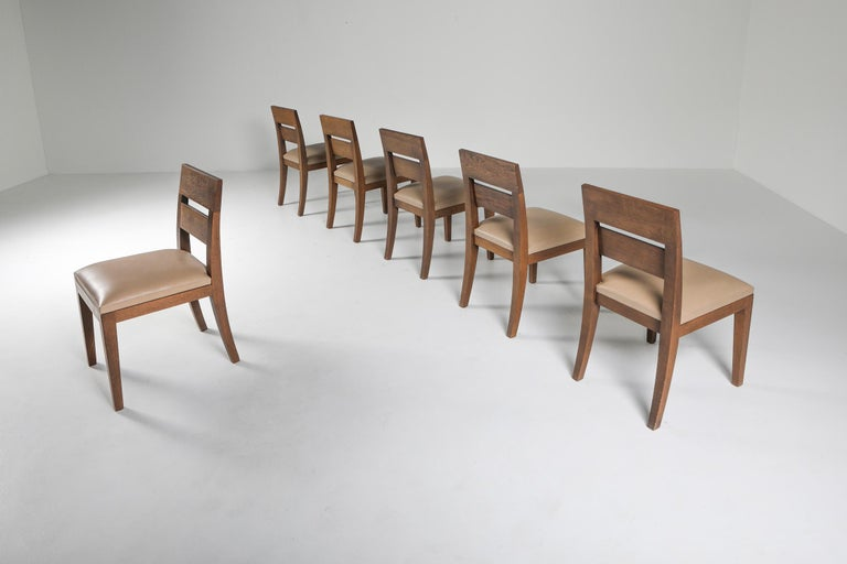 Liaigre Dining Chairs in Stained Oak and Leather In Excellent Condition For Sale In Antwerp, BE