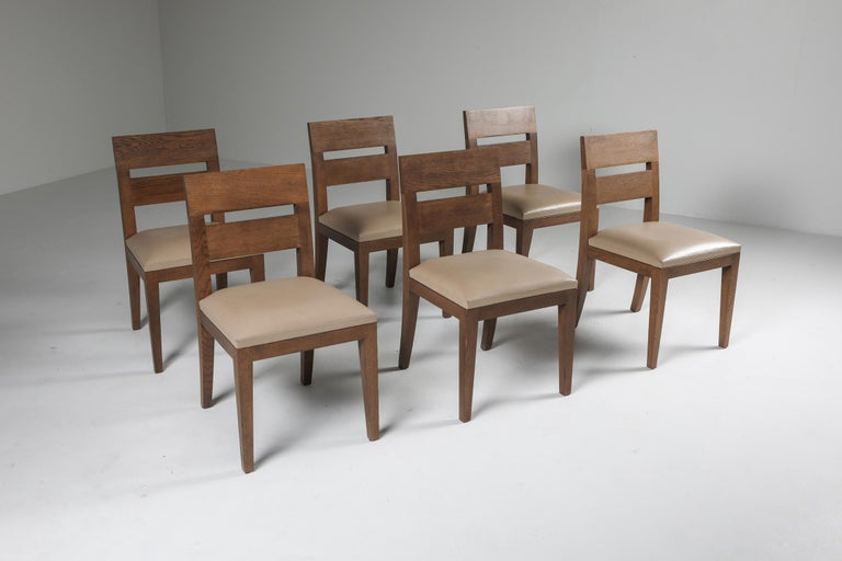 Late 20th Century Liaigre Dining Chairs in Stained Oak and Leather For Sale