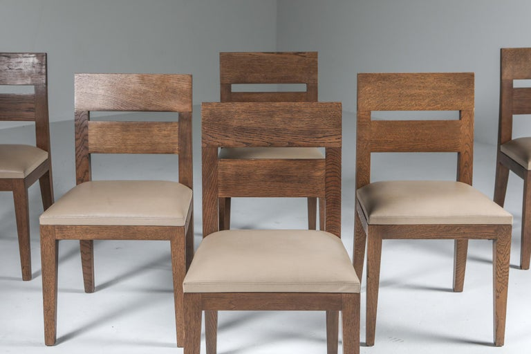 Liaigre Dining Chairs in Stained Oak and Leather For Sale 1