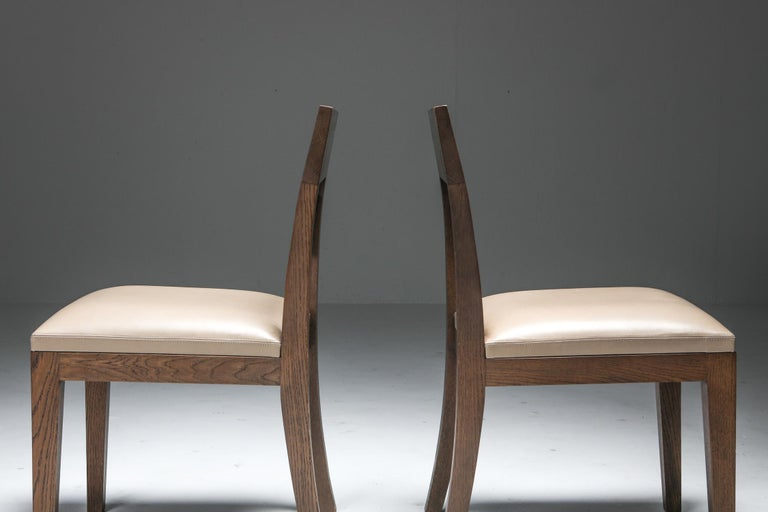 Liaigre Dining Chairs in Stained Oak and Leather For Sale 2