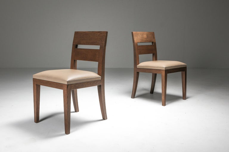 Liaigre Dining Chairs in Stained Oak and Leather For Sale 3