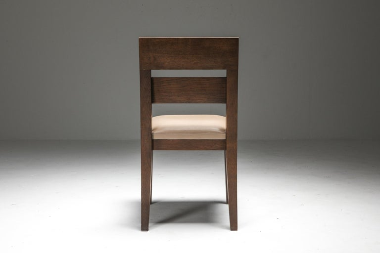 Liaigre Dining Chairs in Stained Oak and Leather For Sale 4