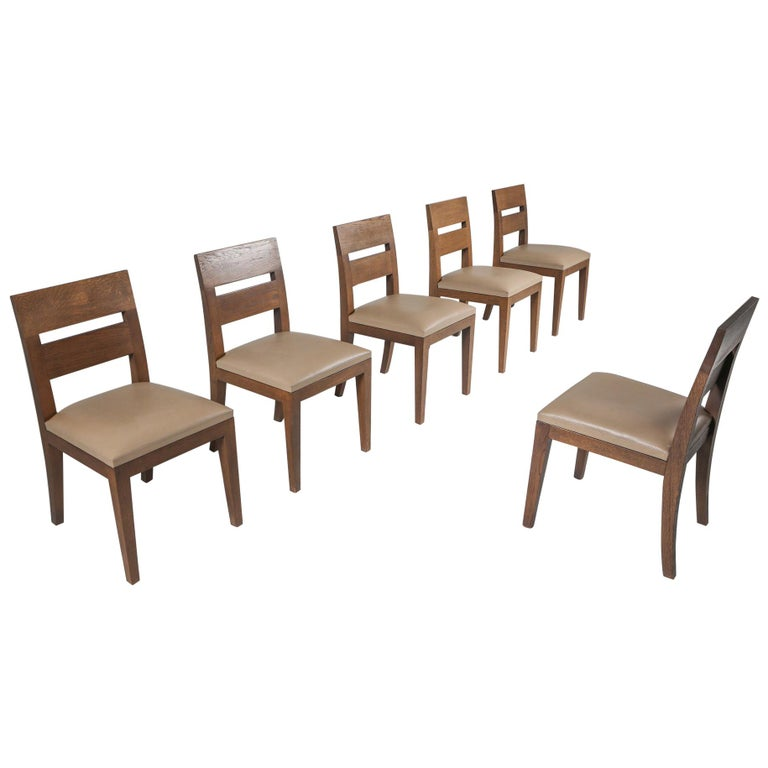 Liaigre Dining Chairs in Stained Oak and Leather For Sale