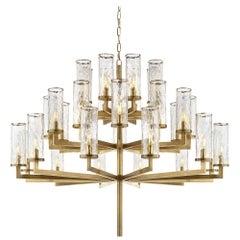 Liaison Triple Chandelier in Burnished Brass & Crackle Glass by Kelly Wearstler