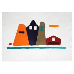 """LIALEI 2"" Original Bauhaus Artist Linocut Print, Signed Werner Graeff"