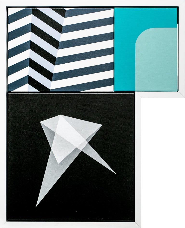 """This blue, white, and black painting titled """"Early American"""" is an original assemblage of acrylic on canvas artwork by Liam Snootle measuring 20""""h x 16""""w.  There is something about these rigid abstract forms floating above a doorway or plastered"""