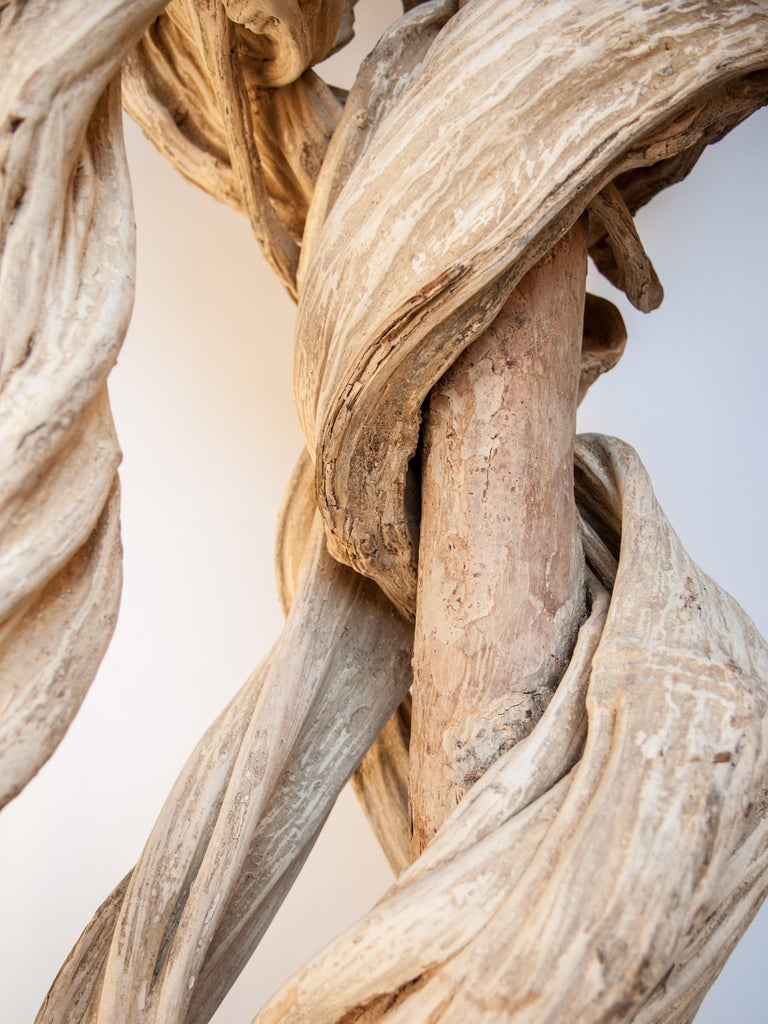 Wood Liana Vine Sculpture on a Metal Stand, from Thailand For Sale