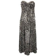 LIANCARLO Size 8 Black & White Chiffon Silk Strapless Dress Gown