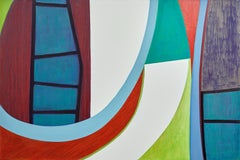 Chutes and Ladders, abstract multicolored painting on panel