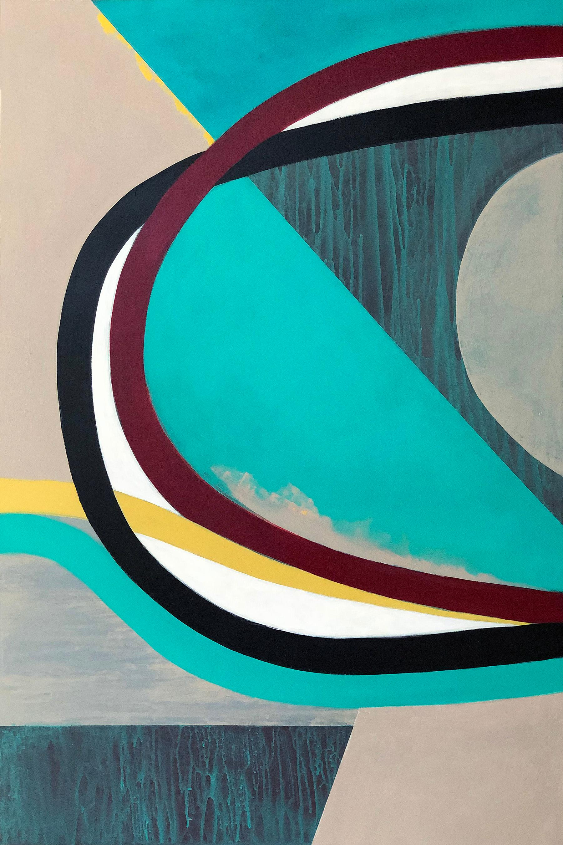Early Apex, teal abstract painting on panel