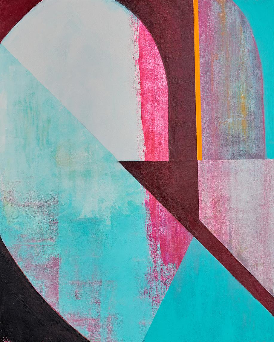 Indicator, abstract blue and pink painting on panel