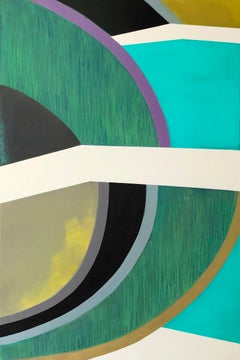 Plane Division, teal and green abstract painting on panel