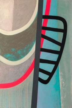 The Bridgekeeper, teal and red abstract painting on panel