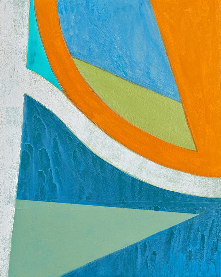 Up in Arms, abstract blue and orange painting on panel