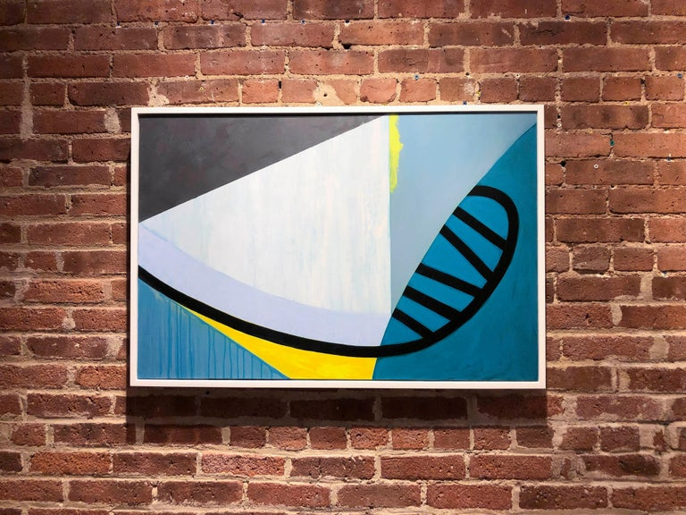 Viaduct, abstract blue and yellow painting on panel - Abstract Painting by Liane Ricci