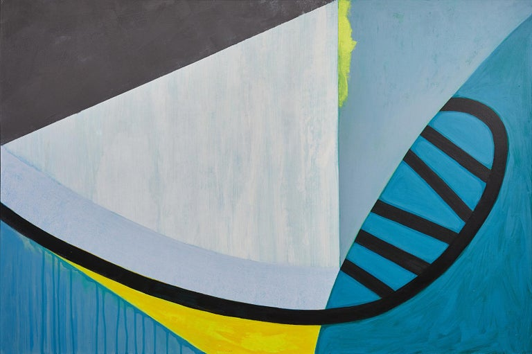 Liane Ricci Abstract Painting - Viaduct, abstract blue and yellow painting on panel