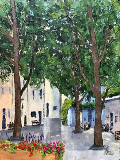 Coffee Time in St. Remy, Somewhere in Provence Ser, Painting, Acrylic on Canvas