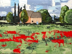 Farmhouse, Somewhere in Provence, Painting, Acrylic on Canvas