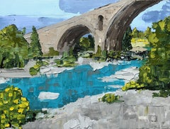 Roman Bridge, Somewhere in Provence, Painting, Acrylic on Canvas