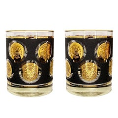 Libbey Black and Gold Coin Glass Tumblers, Set of 2